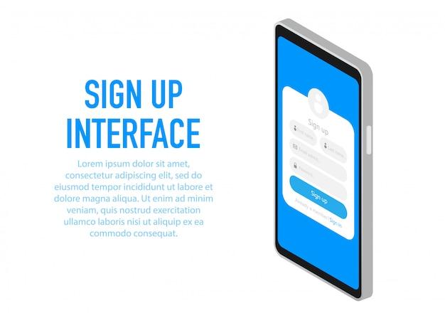 Interfaz de registro de moda aplicación con ventana de registro.
