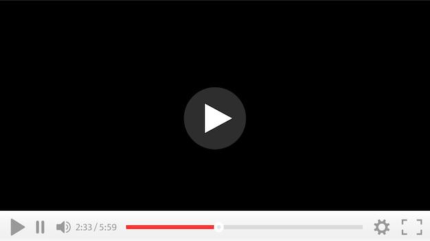 Interfaz de reproductor de video. botón de play. reproduce el video.