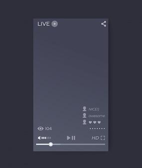 Interfaz de reproductor de video en vivo, aplicación móvil, interfaz de usuario de vector, orientación vertical