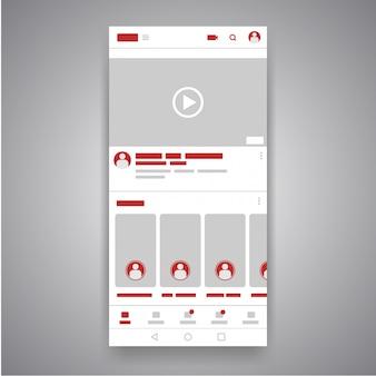Interfaz de reproductor de youtube de video móvil de medios sociales de smartphone