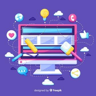 Interfaz de software de infografía colorida