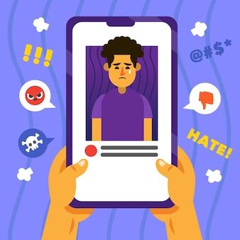 Interfaz de teléfono móvil de ciberacoso