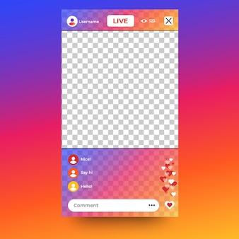 Interfaz de transmisión en vivo de instagram