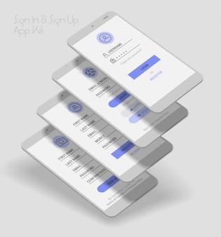 Interfaz de usuario de la aplicación móvil pantallas de inicio de sesión y registro kit 3d