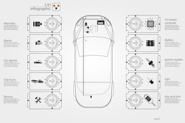 Interfaz de usuario de coches. interfaz de usuario táctil gráfica virtual abstracta. infografía de coches. ilustración vectorial.