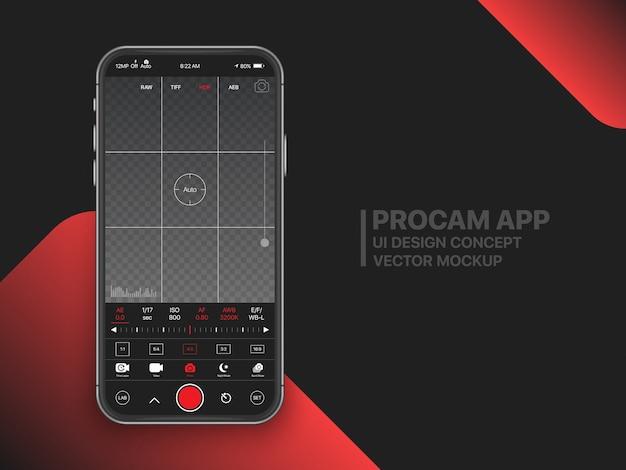 Interfaz de usuario de configuración avanzada de la aplicación móvil de la cámara de video profesional