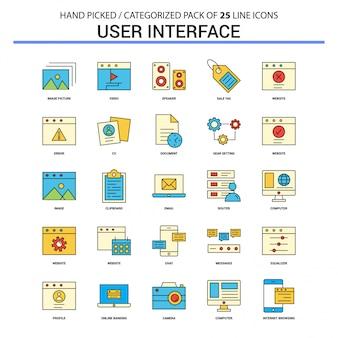 Interfaz de usuario conjunto de iconos de línea plana