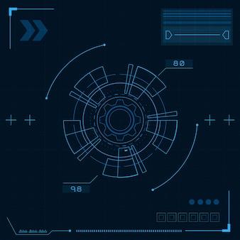 Interfaz de usuario futurista de ciencia ficción, hud, fondo abstracto de tecnología, concepto de tecnología de seguridad cibernética,