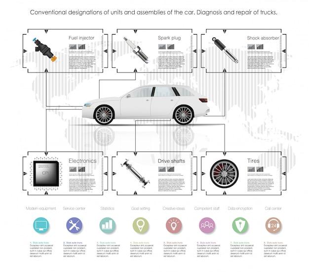 Interfaz de usuario futurista. hud ui. interfaz de usuario táctil gráfica virtual abstracta. coches inf