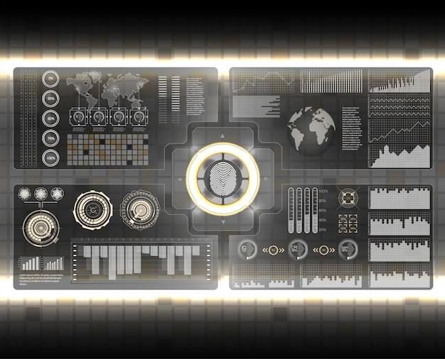 Interfaz de usuario futurista. hud ui. interfaz de usuario táctil gráfica virtual abstracta. infografía de coches resumen de ciencia. ilustración.