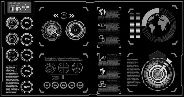 Interfaz de usuario futurista. infografía de transporte de carga y transporte. plantilla de infografías de automóviles. interfaz de usuario táctil gráfica virtual abstracta.