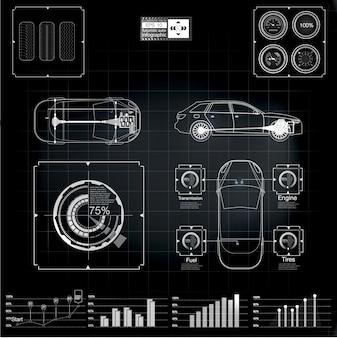 Interfaz de usuario futurista. infografía de transporte de mercancías y transporte.