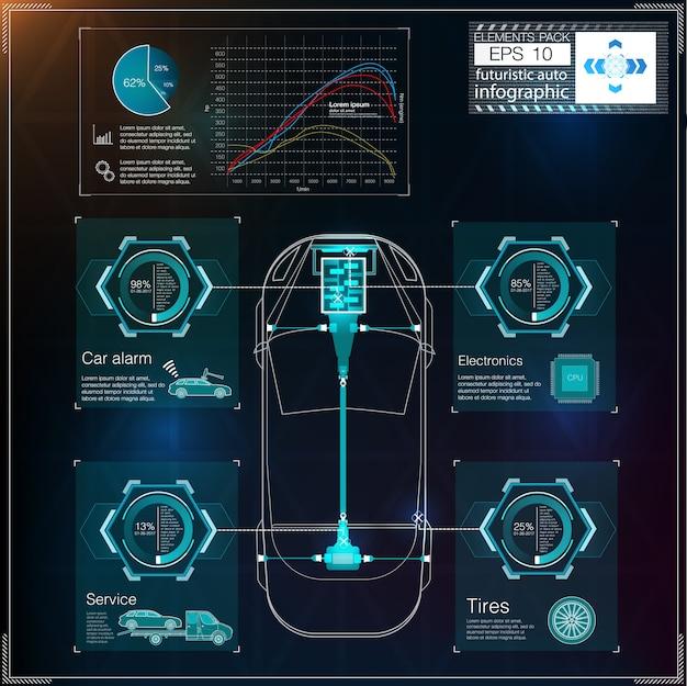 Interfaz de usuario futurista. interfaz de usuario de hud. interfaz de usuario táctil abstracta. infografía de coches. ciencia abstracta. ilustración.