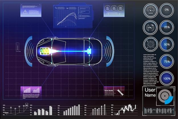 Interfaz de usuario futurista. interfaz de usuario de hud. interfaz de usuario táctil gráfica virtual abstracta.