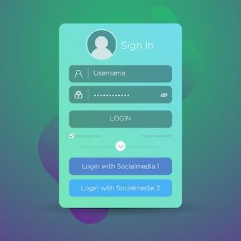 Interfaz de usuario de inicio de sesión plana.
