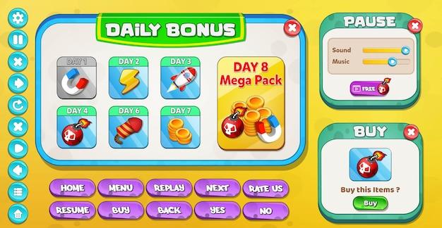 Interfaz de usuario del juego de dibujos animados informal para niños bonificación diaria, pausa y menú de compra emergente con botones de estrellas