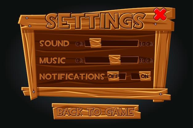 Interfaz de usuario del juego de madera, ventana de configuración. configuración en el tablero antiguo para reproducir sonido, notificación, música.