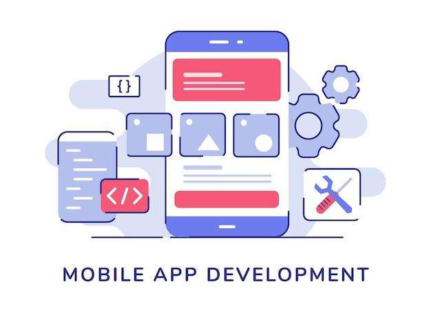 Interfaz de usuario del marco de alambre del concepto de desarrollo de aplicaciones móviles en el código de la pantalla del teléfono inteligente de pantalla