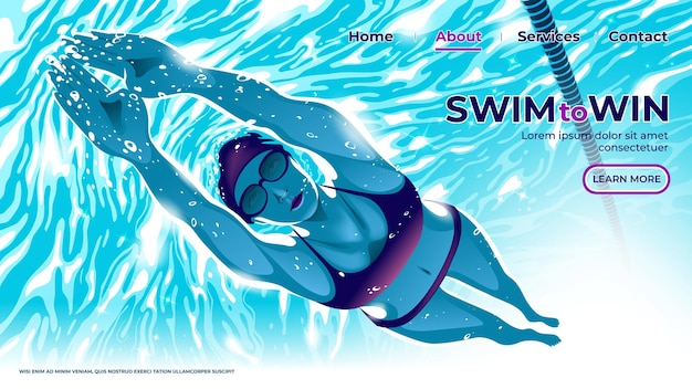 La interfaz de usuario o la página de inicio de la atleta de natación femenina está buceando bajo el agua en la piscina con los ojos de determinación