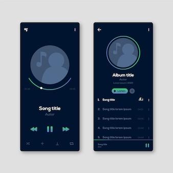 Interfaz de usuario de perfil y aplicación de notas musicales