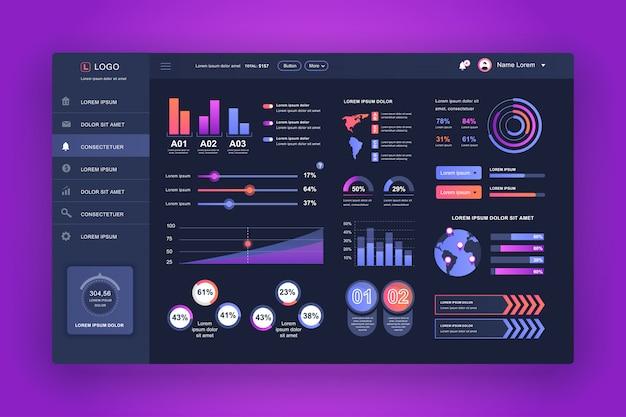 Interfaz de usuario del tablero de instrumentos. plantilla de diseño del panel de administración con elementos infográficos