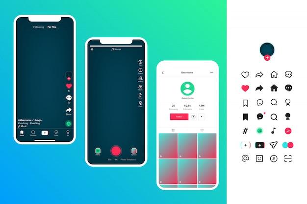 Interfaz de usuario de tik tok y conjunto de iconos de tiktok, interfaz de pantalla de diseño de tik tok aplicación de medios sociales. blogging concepto de tik tok de redes sociales.