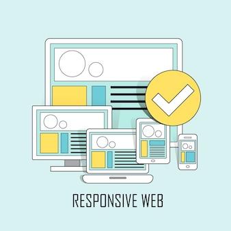 Interfaz de usuario totalmente receptiva en cualquier dispositivo en estilo de línea fina