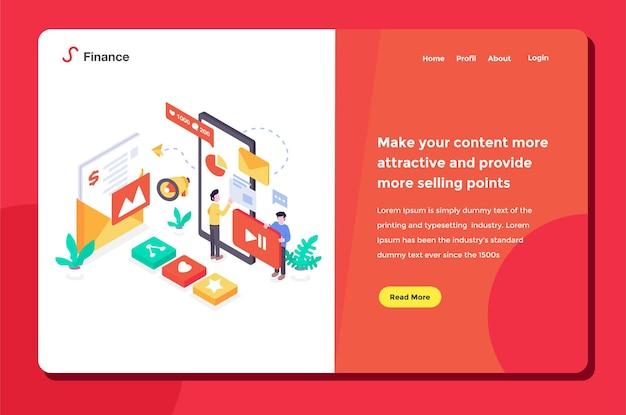 Interfaz de usuario trabajadores de la página de destino que realizan marketing en redes sociales