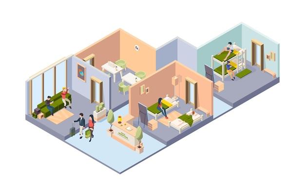Interior del albergue. diferentes habitaciones en el hotel para dormitorios de estudiantes, baño, comedor con huéspedes relajantes viajeros vector ilustración isométrica. interior del albergue y habitación de hotel con muebles.