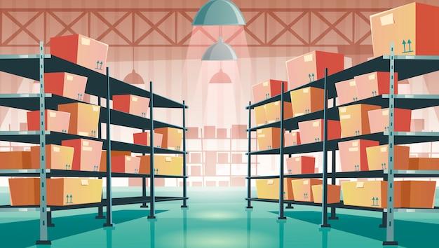 Interior del almacén con cajas de cartón en bastidores