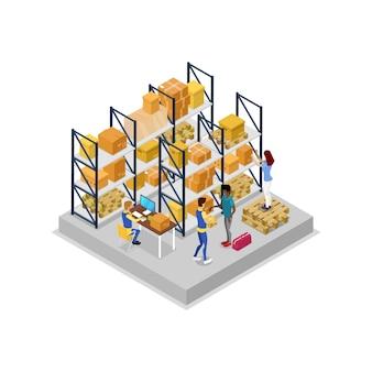 Interior del almacén con la ilustración 3d isométrica de los trabajadores