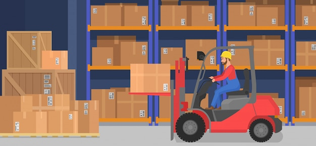 Interior de almacén moderno industrial con cajas de entrega estantes de mercancías y transpaletas. concepto de logística y almacenamiento de la empresa de carga.