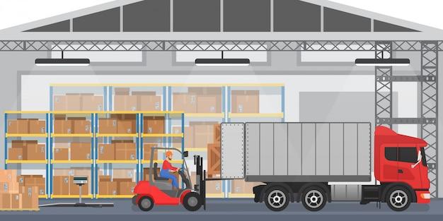 Interior del almacén con trabajadores arreglando cajas de mercancías en un camión. almacén moderno interior wirh camión de carga