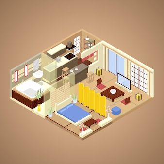 Interior del apartamento de estilo japonés