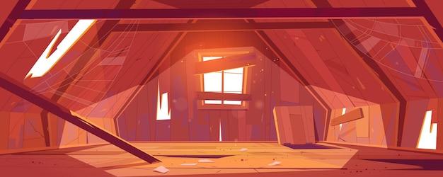 Interior del ático de la casa abandonada, habitación abuhardillada vieja vacía, lugar espacioso con agujeros y telaraña en el techo con vigas, piso de madera, ventana tapiada, arquitectura, vivienda.