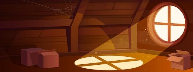 Interior del ático de la casa vacía habitación abuhardillada con ventana redonda y cajas de cartón