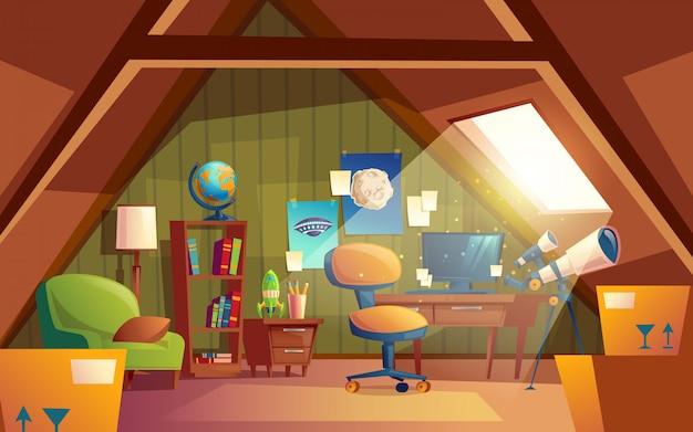 Interior del ático, sala de juegos para niños con muebles. acogedora habitación bajo techo con telescopio