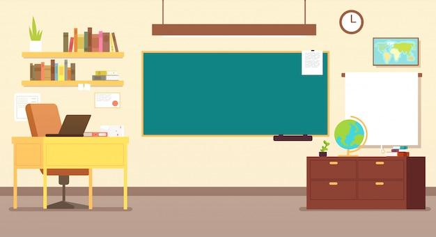 Interior de aula de la escuela de nadie con escritorio de maestros y pizarra