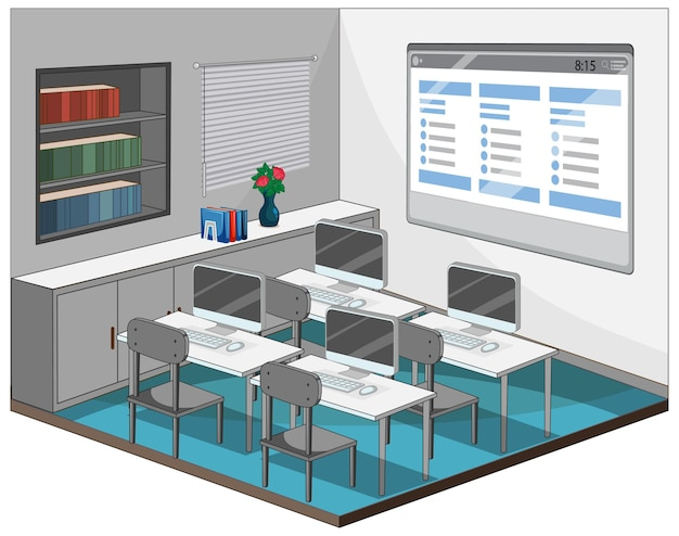 Interior de aula de informática vacía con elementos de aula