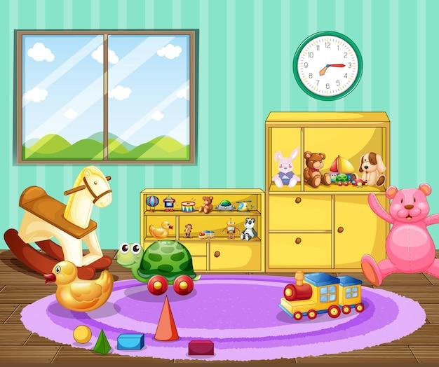 Interior de aula de jardín de infantes vacía con muchos juguetes para niños