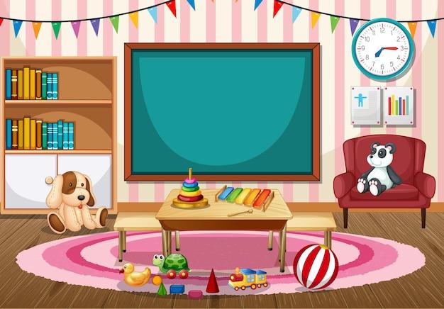 Interior de aula de jardín de infantes vacía con pizarra y juguetes para niños