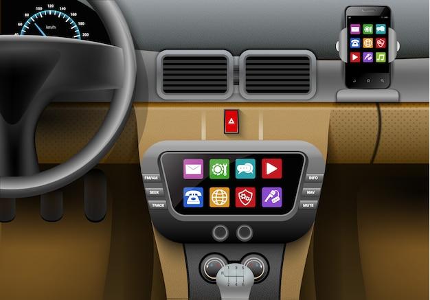 Interior auto realista con sistema multimedia de coche y teléfono inteligente.