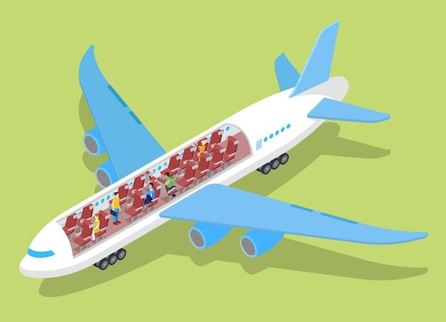Interior del avión de aire con pasajeros