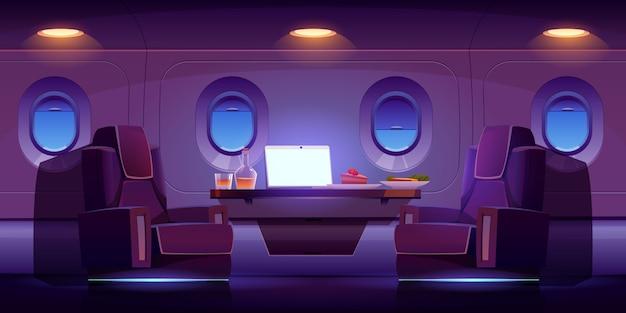Interior de avión jet privado, cabina de avión de lujo