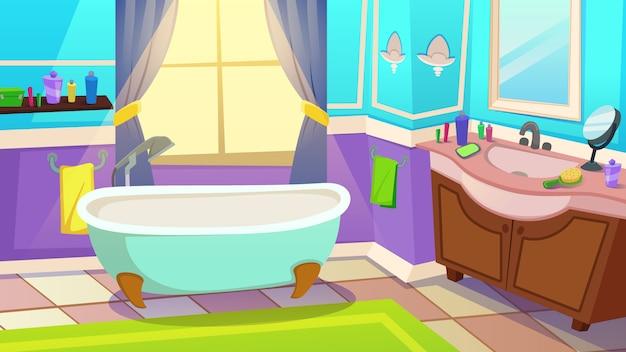 Interior de baño clásico en casa o en ilustración de hotel
