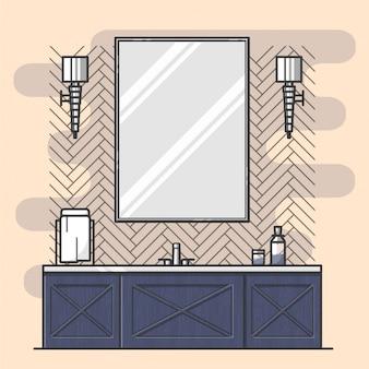 Interior de baño con espejo grande