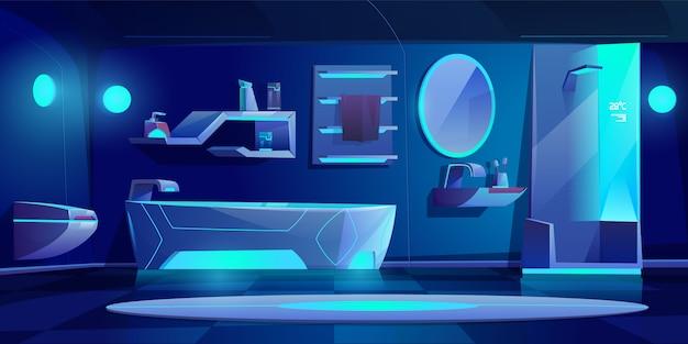 Interior de baño futurista con muebles y cosas brillantes con luz de neón en la oscuridad, bañera, cabina de ducha, lavabo, inodoro, espejo, estante, hogar moderno nocturno.