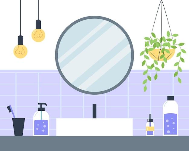 Interior de baño con lavabo y espejo redondo, estilo plano