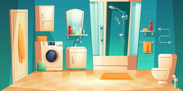 Interior de baño moderno con muebles de dibujos animados
