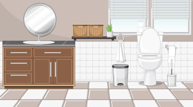 Interior de baño con muebles en tema beige y blanco.